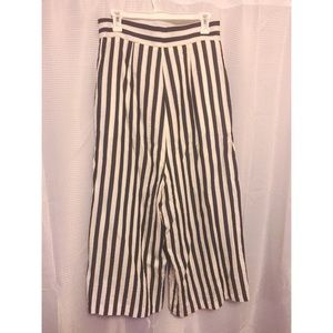 Navy & White High-Waisted Goucho Pants